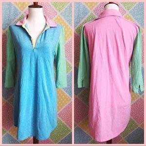Ralph Lauren pastel color block womens shirt dress